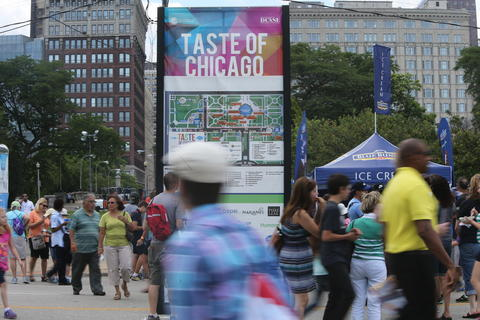 A map of the Taste directs visitors on day one of the Taste of Chicago food festival in Grant Park.