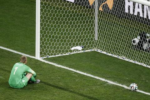 Netherlands goalkeeper Jasper Cillessen reacts after conceding the winning goal in the penalty shootout.