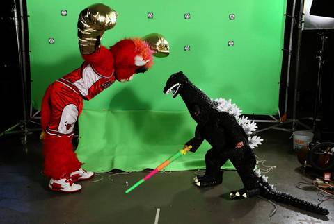 Maddex, right, duels Benny the Bull on the set of his film.
