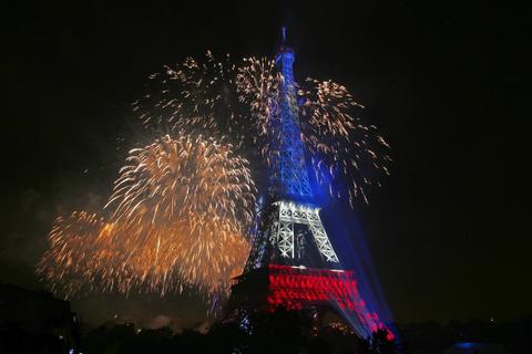 The Eiffel Tower is illuminated during the traditional Bastille Day fireworks display in Paris July 14, 2014.