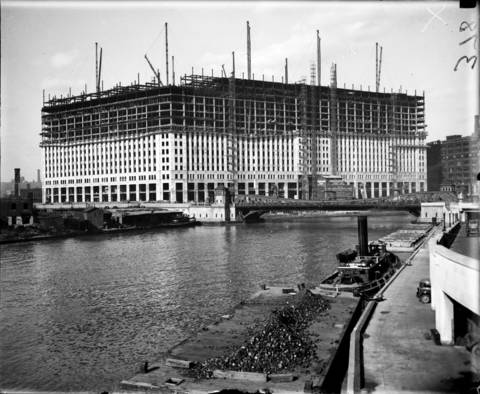 The Merchandise Mart under construction, seen from the Lake Street Bridge in 1929.