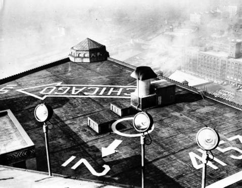 The Merchandise Mart air guide sign on the building's roof in 1948.
