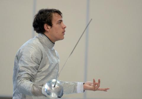 Maxence Lambert of France gestures after his competition during the men's sabre qualification competition at the World Fencing Championships in Kazan, on July 15, 2014.