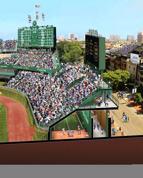 A rendering released by the Chicago Cubs shows proposed bleacher section changes of Wrigley Field along Sheffield Avenue.