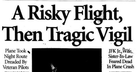 On July 16, 1999, John F. Kennedy Jr., his wife Carolyn Bessette Kennedy and her sister Lauren Bessette, took off from Essex County Airport in New Jersey in a light aircraft piloted by the late president's son. The three were headed to Martha's Vineyard for the wedding of cousin Rory Kennedy. The plane crash in the Atlantic Ocean off the coast of the Massachusetts island.