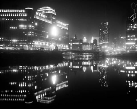 Merry Christmas is written out in lights on the Merchandise Mart on Nov. 25, 1964.