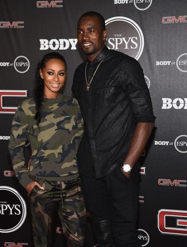 Singer Keri Hilson and NBA player Serge Ibaka arrive at the ESPN's BODY at ESPY's Pre-Party.