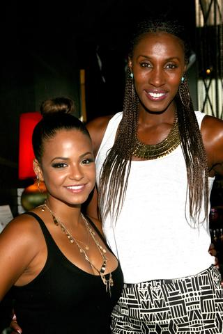 Actress Christina Milian (left) and basketball player Lisa Leslie attend the GBK Luxury Sports Lounge prior to the ESPY Awards.