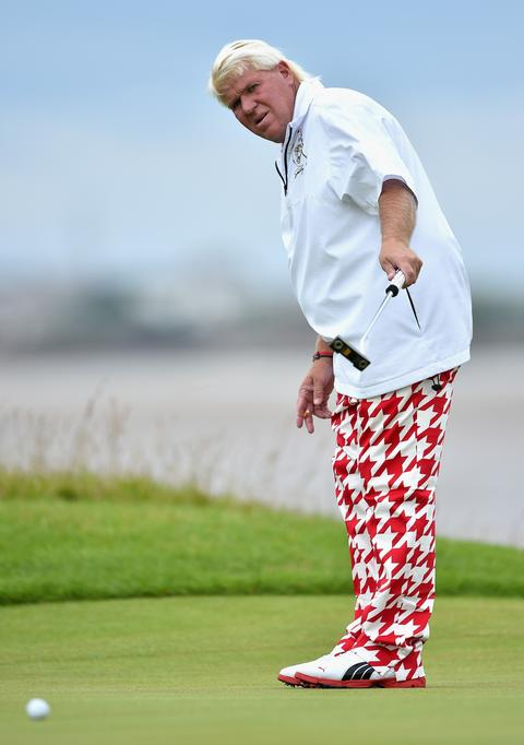 """""""I dub thee Sir Bloody Houndstooth"""": John Daly putts during a practice round at Royal Liverpool in Hoylake, England."""
