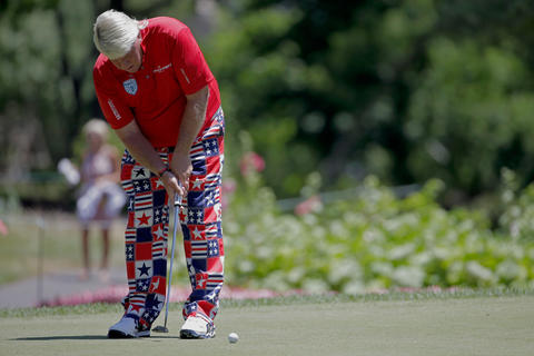 Is this golf or curling? John Daly's pants at the Greenbrier Classic on July 4 are reminiscent of the flashy fashions sported at Olympic curling games.