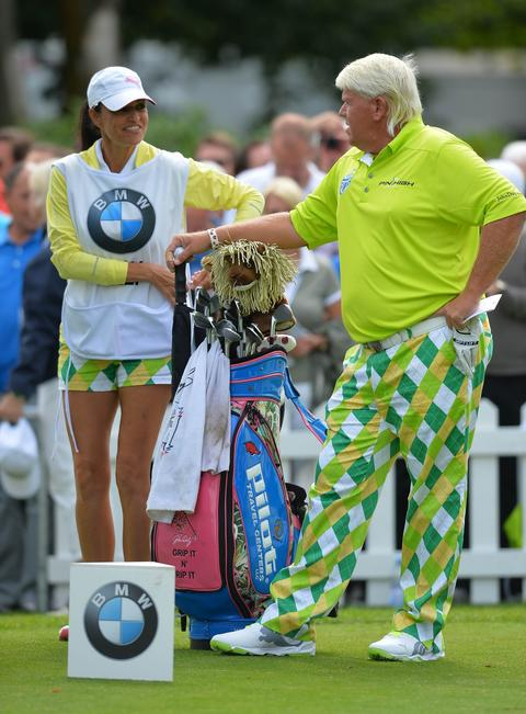 """We'll call this ensemble, which John Daly wore at the BMW International Open in Cologne, Germany, """"The Cathedral."""" Bonus points for girlfriend and caddie Anna Cladakis wearing the matching shorts."""