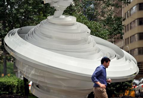 """Cyclone Twist (2013)"" an aluminum sculpture by Alice Aycock on Park Avenue July 16, 2014 in New York. ""Park Avenue Paper Chase"" is an exhibition of 7 large scale works by Aycock presented by The Sculpture Committee of The Fund for Park Avenue and the New York City Public Art Program."