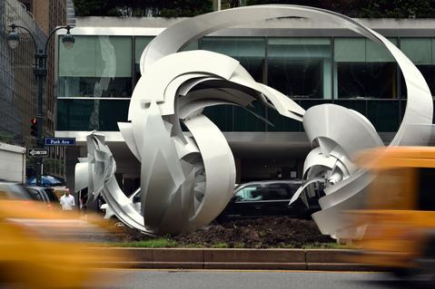 """Hoop-La (2014)"" an aluminum sculpture by Alice Aycock on Park Avenue July 16, 2014 in New York. ""Park Avenue Paper Chase"" is an exhibition of 7 large scale works presented by The Sculpture Committee of The Fund for Park Avenue and the New York City Public Art Program."