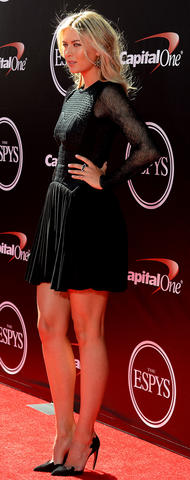 Professional tennis player Maria Sharapova arrives at the 2014 ESPY Award show at Nokia Theatre.