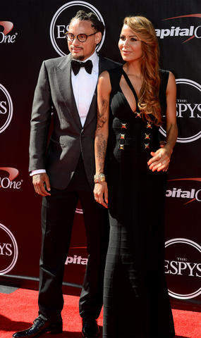 Jermaine Jones (left) arrives at the 2014 ESPY Award show at Nokia Theatre.