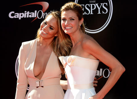 American model Chrissy Teigen (left) and broadcaster Erin Andrews arrive at the 2014 ESPY Award show at Nokia Theatre.