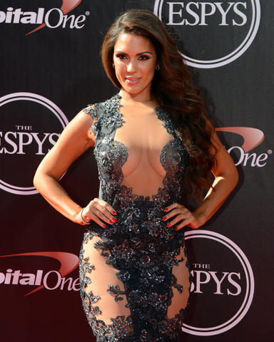 International model Carissa Rosario arrives at the 2014 ESPY Award show at Nokia Theatre.