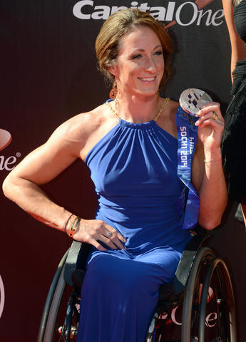 Paralympian athlete Tatyana McFadden arrives at the 2014 ESPY Award show at Nokia Theatre.
