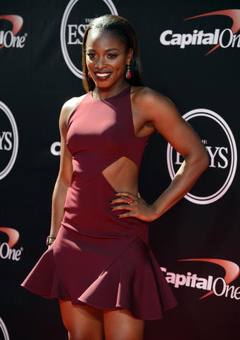 Professional tennis player Sloane Stephens arrives at the 2014 ESPY Award show at Nokia Theatre.