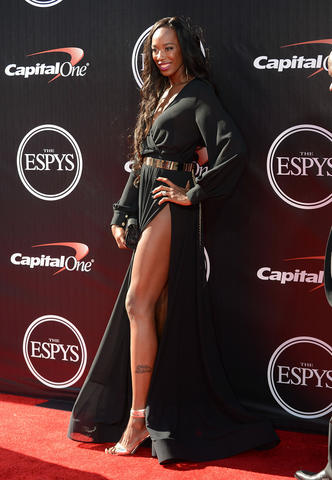 Olympic volleyball player Destinee Hooker arrives at the 2014 ESPY Award show at Nokia Theatre.