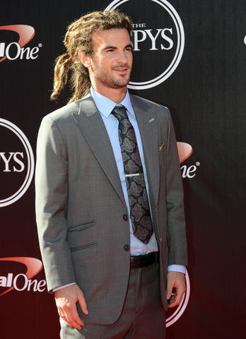 Soccer player Kyle Beckerman arrives at the 2014 ESPY Award show at Nokia Theatre.