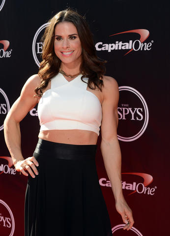 American boxer Danyelle Wolf arrives at the 2014 ESPY Award show at Nokia Theatre.