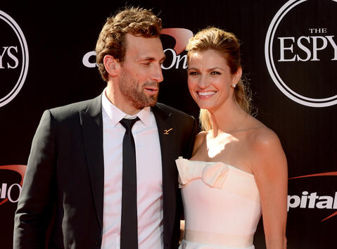 Television broadcaster Erin Andrews and hockey player Jarret Stoll arrive at the 2014 ESPY Award show.