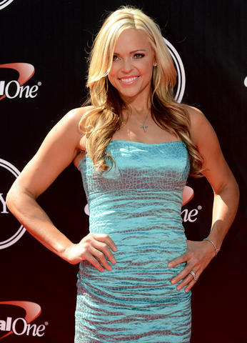 Softball player Jennie Finch arrives at the 2014 ESPY Award show.