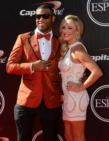 Detroit Lions wide receiver Golden Tate arrives at the 2014 ESPY Award show.