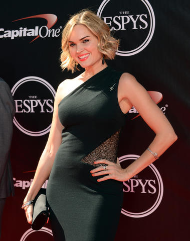 Actress and model Sunny Mabrey arrives at the 2014 ESPY Award show.