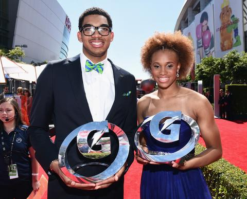 Gatorade Athletes of the Year Karl-Anthony Towns and Brianna Turner attend The 2014 ESPYS.