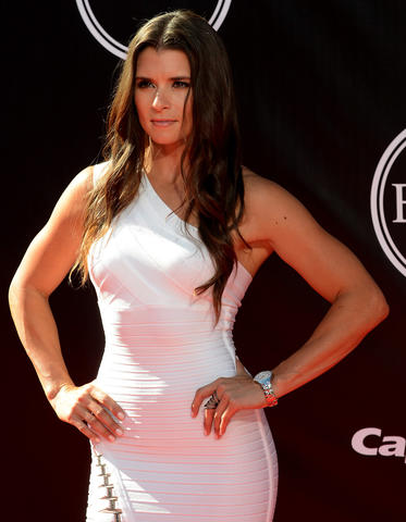 Race car driver Danica Patrick arrives at the 2014 ESPY Award show.