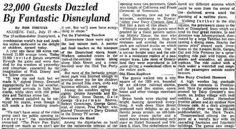 On July 18, 1955, the day after 22,000 invited guests enjoyed Disneyland for the first time, the theme park opened to the public. The 160-acre park constructed on a former orange grove in Anaheim, Calif., was estimated to cost $17 million to build.