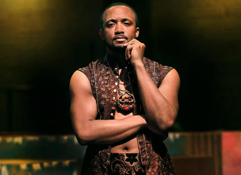 "Virginia Shakespeare Festival presents ""Illyria"" and ""Julius Caesar"" for the 2014 summer season.  Tre Cotton, who will play Orsino in Illyria , on the stage in costume. Note: Tre has an accent over the e."