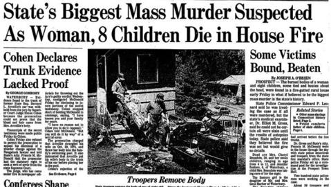 In the early hours of July 22, 1977, neighbors smelled smoke and reported the Beaudoin family home in Prospect on fire. Cheryl Beaudoin, 29, her seven children and a family friend were killed. Lorne J. Acquin, the foster brother of Beaudoin's husband, was eventually sentenced to 105 years to life in prison, with the possibility of parole after 50 to 55 years.