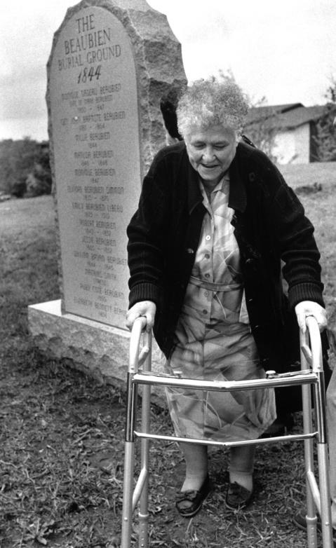 May 17, 1990: Marjorie Sanborn, 77, great granddaughter of Marc Beaubien, walks away after ceremonies unveiling the new memorial to her ancestors in Lisle.