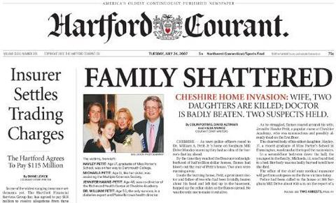 On July 23, 2007, Jennifer Hawke-Petit and her children, Hayley, 17, and Michaela, 11, were slain in their Cheshire home. William Petit Jr. was badly beaten. Steven Hayes and Joshua Komisarjevsky were sentenced to death in the case.
