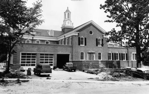 July 3, 1957: A view of the Hazel Avenue entrance of the new town hall, built to house the village fire and police departments.