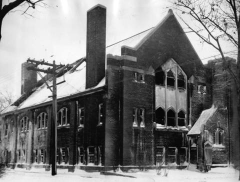 Dec. 20, 1929: A view of the Wilmette Presbyterian Church after a fire, caused by an overheated boiler, damaged its interior.