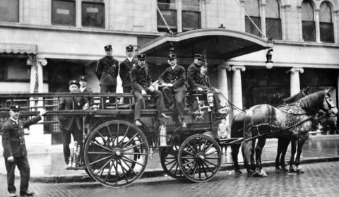 1916: Members of the Wilmette Fire Department pose for a photo.