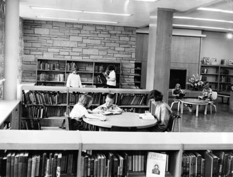July 26, 1951: Children read at Wilmette Public Library.
