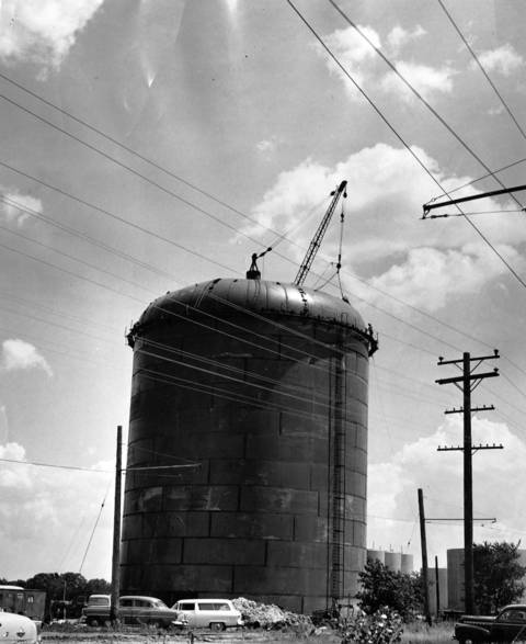 July 13, 1956: A new water reservoir under construction in Wilmette.