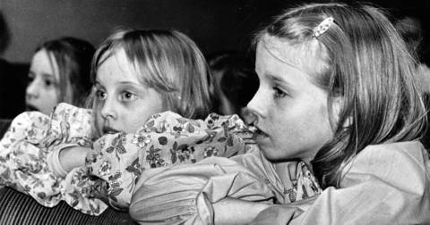 Feb. 16, 1978: Marni Sullivan and Carolyn Caldwell watch rehearsal at the Wilmette Children's Theatre.