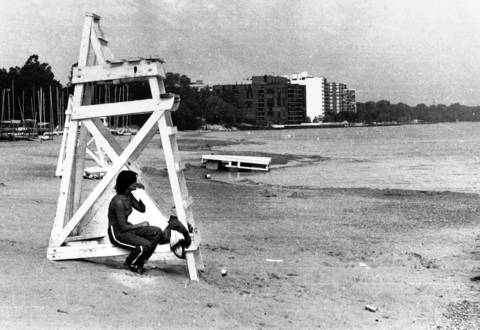Aug. 12, 1976: A lifeguard watches over an empty beach in Wilmette.