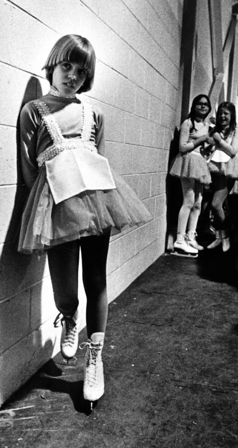 "May 6, 1978: ""Alice"" is alone with her thoughts before going on the ice for a final rehearsal of the ""Alice in Wonderland"" sequence of the Wilmette Park District's ""Our Encounter for the Third Time"" show."