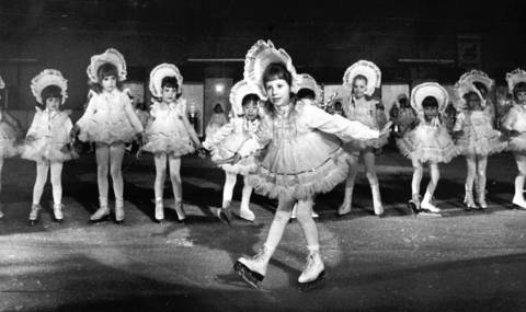 "May 17, 1984: Young skaters perform ""Cotton Candy"" during a rehearsal for the Wilmette Park District's annual ice show at Centennial Ice Rink."