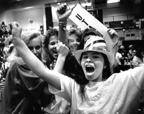 June 1, 1988: Denise Duffy lets out a cheer when her Utah delegation cast its votes at a mock Democratic Convention at Conant High School in Hoffman Estates. The 1,488 students who participated nominated U.S. Sen. Sam Nunn for president and U.S. Sen. Bill Bradley for vice president.