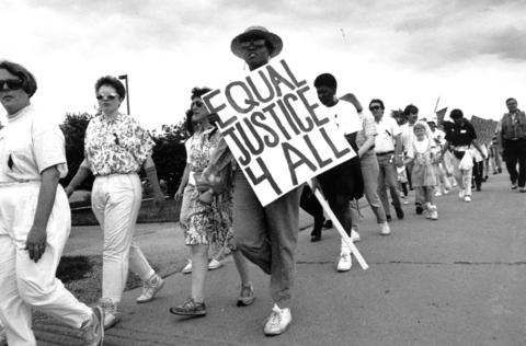 May 18, 1992: About 150 march from the Prince of Peace Lutheran Church in Hoffman Estates in a peaceful demonstration to promote racial understanding in the northwest suburbs.