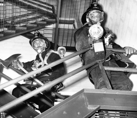 March 19, 1963: Niles firefighters train in a stairwell.