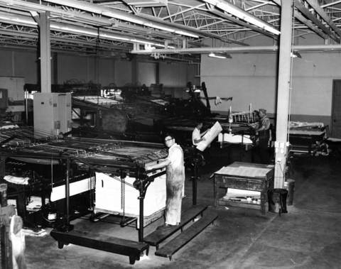 Oct. 16, 1959: Employees work in the press room at Brethren Press in Elgin.